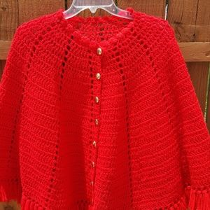 Jackets & Blazers - Knitted/Crocheted Red Poncho Cape